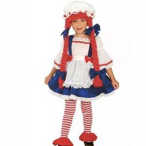 🆕 RAG DOLL GIRL Child Costume Wig Raggedy Ann 4-6
